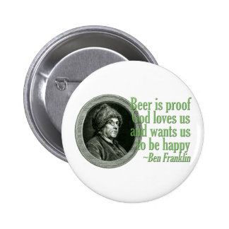 Franklin Beer Quote 6 Cm Round Badge