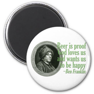Franklin Beer Quote 6 Cm Round Magnet