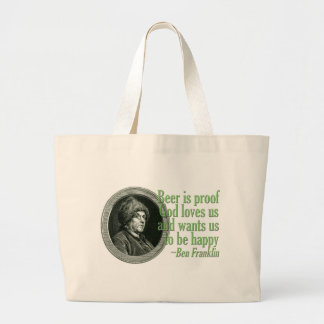 Franklin Beer Quote Jumbo Tote Bag