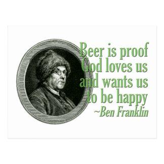 Franklin Beer Quote Postcard