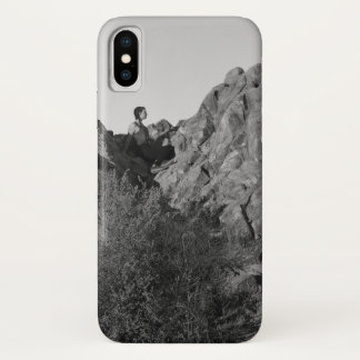 Franklin Park Hiker Resting BW iPhone X Case