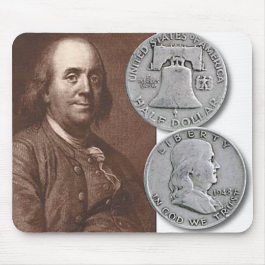 Franklin Portrait with Half Dollars Mouse Mat