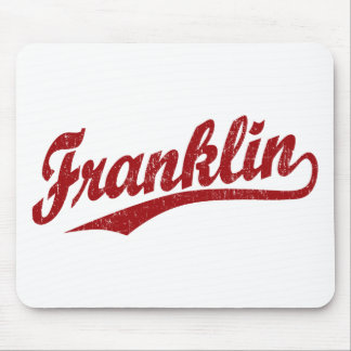 Franklin script logo in red distressed mouse pad