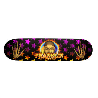 Franklin skull real fire and flames skateboard des