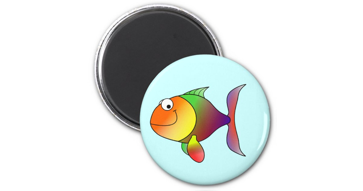 Franklin the funky fun cartoon fish 6 cm round magnet zazzle for 99 5 the fish