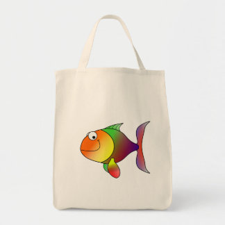 Franklin the Funky Fun Cartoon Fish Grocery Tote Bag