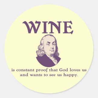 Franklin - Wine Classic Round Sticker