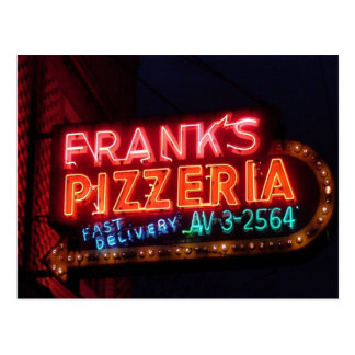 Franks Pizza on Belmont, Vintage Chicago Neon Sign Postcard