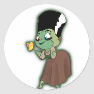 Frannystein and the Butterfly Classic Round Sticker