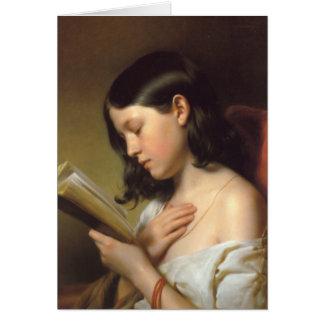 Franz Eybl - Lesendes Mädchen (Reading Girl), 1850 Stationery Note Card