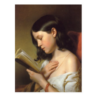 Franz Eybl - Lesendes Mädchen (Reading Girl), 1850 Postcard