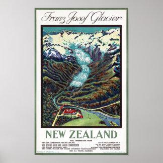 Franz Josef Glacier Vintage Travel Poster