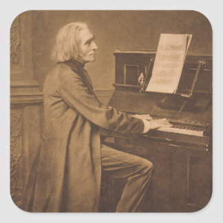 Franz Liszt  at the Piano Square Sticker