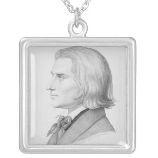 Franz Liszt, engraved by Gonzenbach Silver Plated Necklace