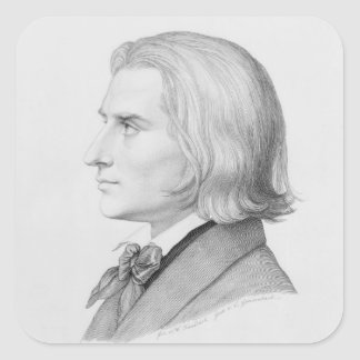 Franz Liszt, engraved by Gonzenbach Square Sticker