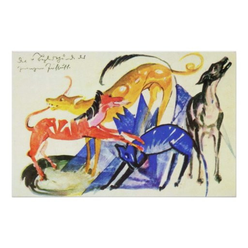 Franz Marc 4 Service Dogs Prince Jusuff 1913 Four Poster