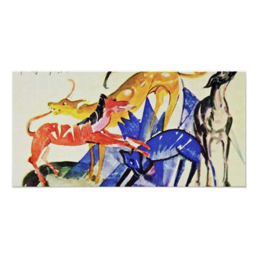 Franz Marc - Four service dogs of Prince Jusuff Posters