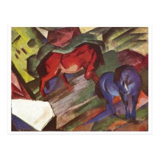 Franz Marc - Red & Blue Horse 1912 Paper Horses Postcard