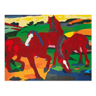 Franz Marc - Red Horses Post Card