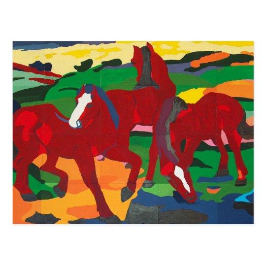 Franz Marc - Red Horses Postcard