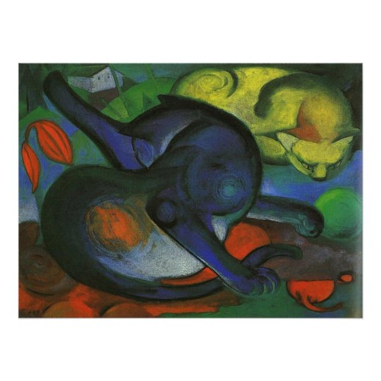 Franz Marc - Two Cats Blue & Yellow 1912 kitty oil Poster