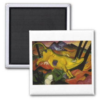 Franz Mark - Yellow Cow 1911 Canvas Spot Milk Cows Square Magnet