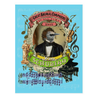 Franz Schubird Funny Bird Animal Composer Schubert Postcard