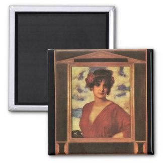 Franz von Stuck - Lady in Red Refrigerator Magnets