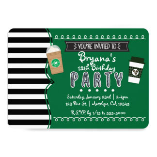 Frap Coffee Birthday Party Teen Invitations