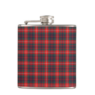 Fraser Clan Bright Red and Navy Blue Modern Tartan Hip Flask