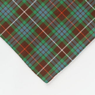 Fraser Clan Brown and Bright Green Hunting Tartan Fleece Blanket