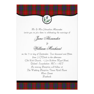 Fraser Clan Tartan Plaid Thistle Wedding Invites
