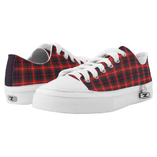 Fraser of Lovat Modern Tartan Red and Blue Canvas Low Tops