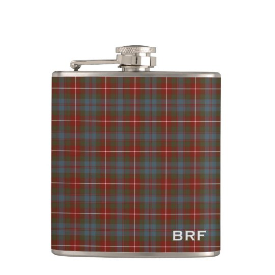 Fraser of Lovat Weathered Tartan Monogram Hip Flask