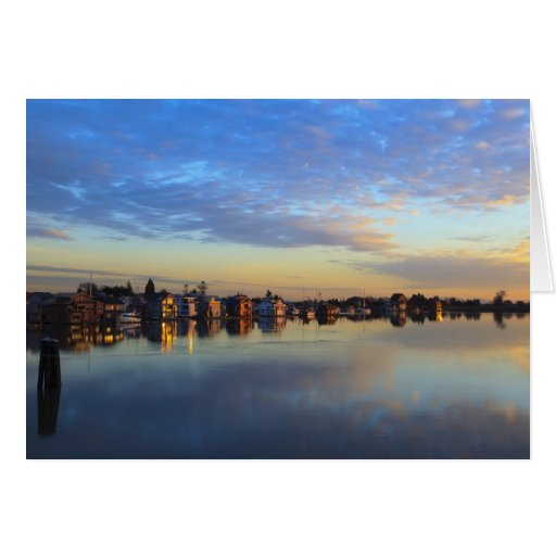 Fraser River, house boats at sunset Cards