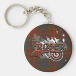 Fraser Tartan Grunge Basic Round Button Key Ring