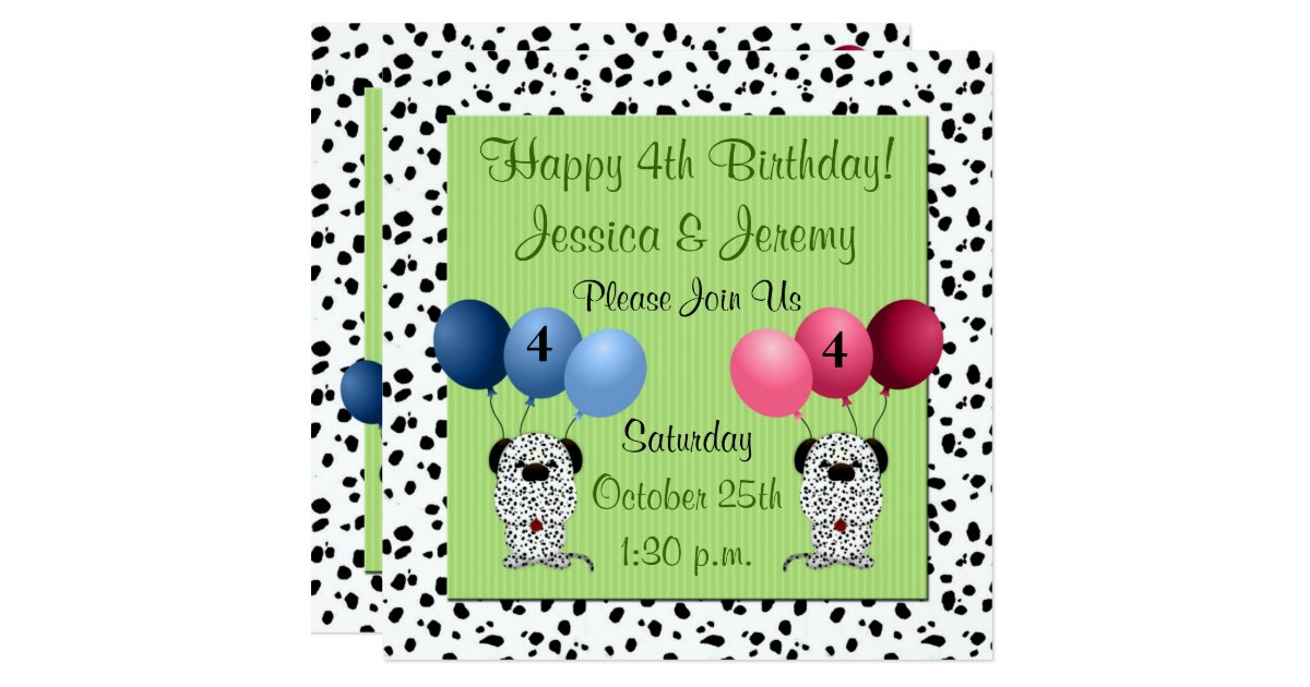 Fratern Twins 4th Birthday Party With Green Invitation