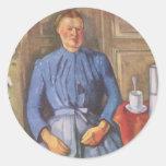 Frau mit Kaffeekanne Round Sticker