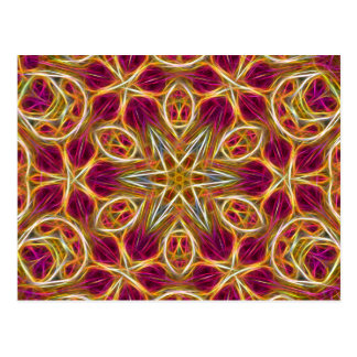 Frayed threads kaleidoscope horizontal postcard