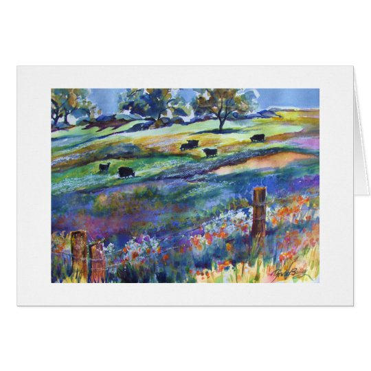 Frazier Valley Angus  Original Greeting Watercolor Card