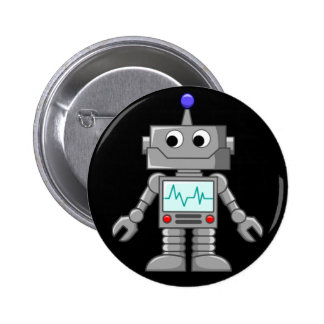 Freak robot 6 cm round badge