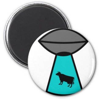 Freaky Cow Ufo 6 Cm Round Magnet