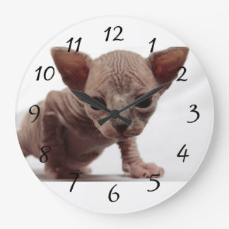 Freaky Cute Furless Sphynx Kitten Large Clock