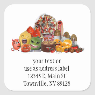 Freaky Junk Food Pyramid Square Sticker