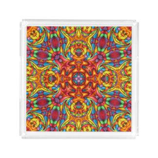 Freaky Tiki Pattern  Acrylic Trays, 2 shapes 4 siz Acrylic Tray