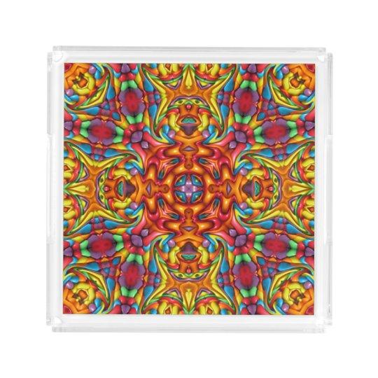 Freaky Tiki Pattern Acrylic Trays, 2 shapes 4