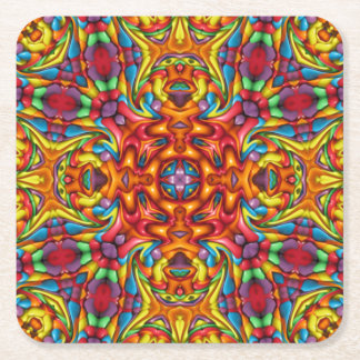 Freaky Tiki Pattern Pulp board Coasters, 2 shapes Square Paper Coaster