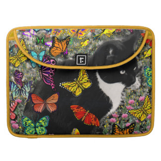 Freckles in Butterflies - Black and White Kitty Sleeve For MacBooks