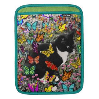 Freckles in Butterflies - Black White Kitty Cat iPad Sleeve