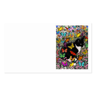 Freckles in Butterflies - Black & White Tux Cat Pack Of Standard Business Cards